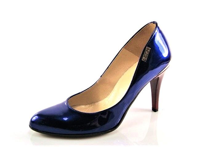 c54683fd23601 Lakované modré lodičky s červeným podpätkom - Obuv Carmen