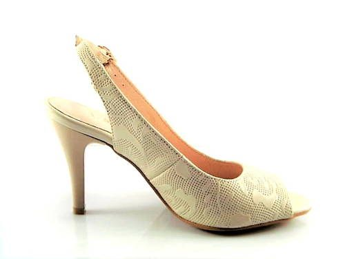 259fca58a3 Béžové sandále na strednom podpätku s jemnou potlačou-Obuv Carmen