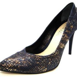94dd3e9697df Elegantné modro-zlaté kožené lodičky na podpätku - Obuv Carmen