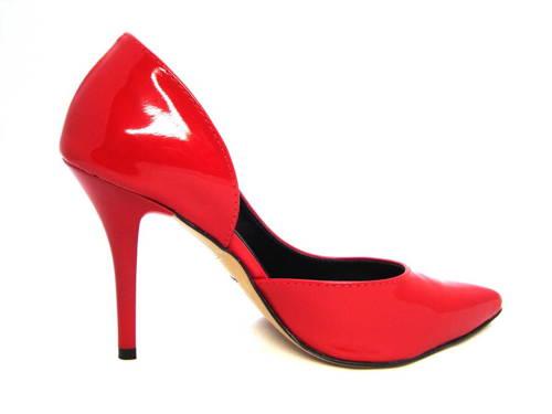 Kvalitné červené kožené lodičky na vysokom podpätku fd62a801519