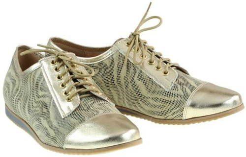 8f9bdeaa57c81 Elegantné kožené šnurovacie zlaté topánky – M.M.Oleksy
