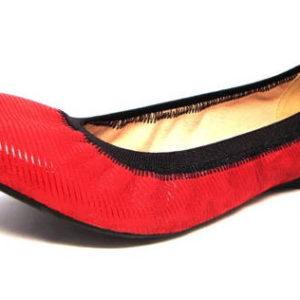 823c3ddc0fc7d Moderné červené kožené balerínky s gumičkou - Obuv Carmen