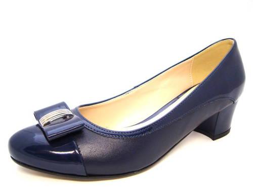 69caf71b0a95 Vychádzkové modré lodičky na nízkom podpätku - Obuv Carmen