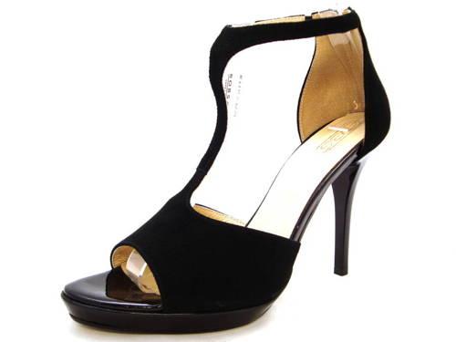 5937c95fc8 Čierne velúrové kožené sandálky na platforme zn.Embis