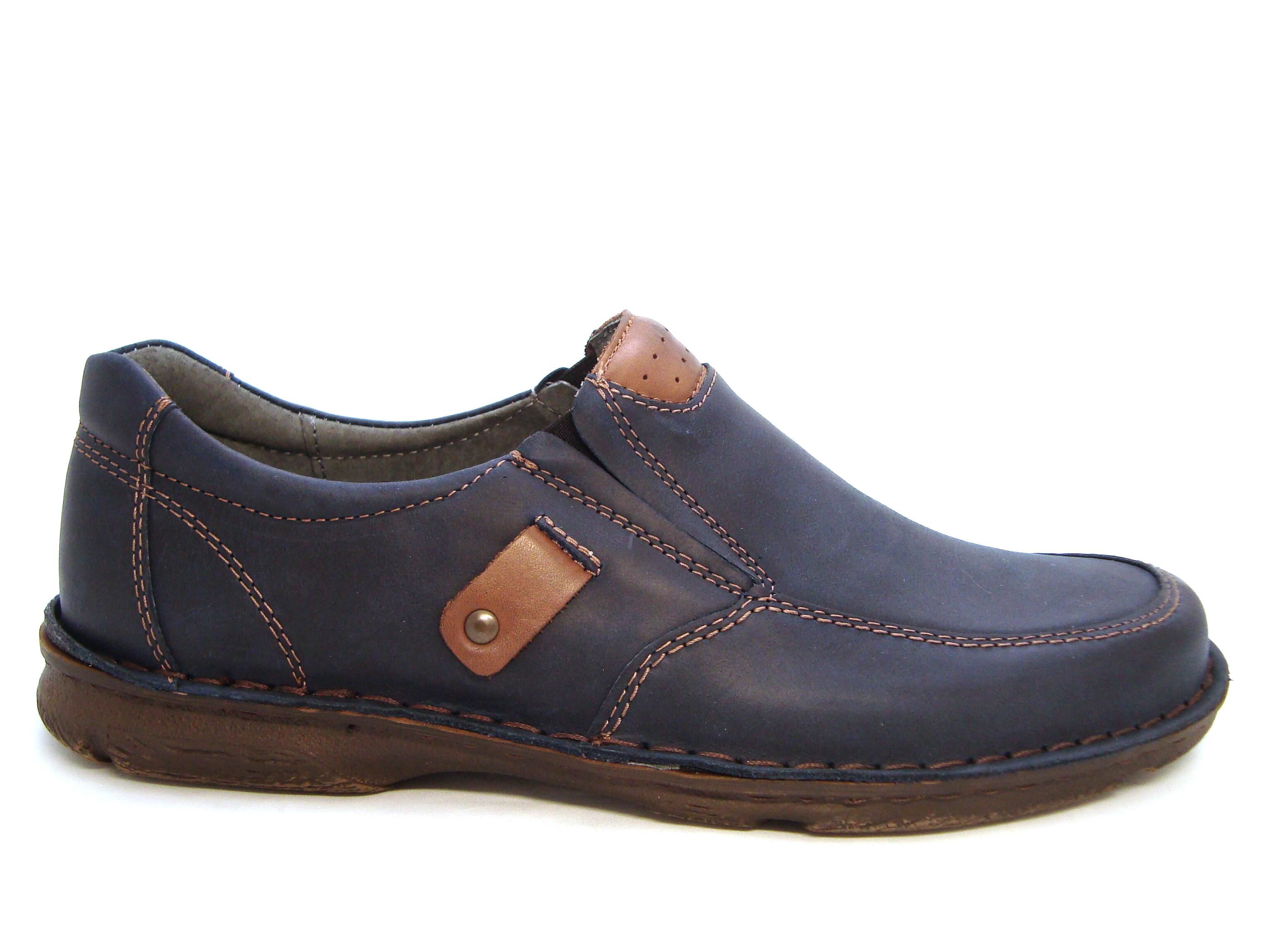 769aad23714e Komfortné modro-hnedé pánske kožené mokasíny - Obuv Carmen