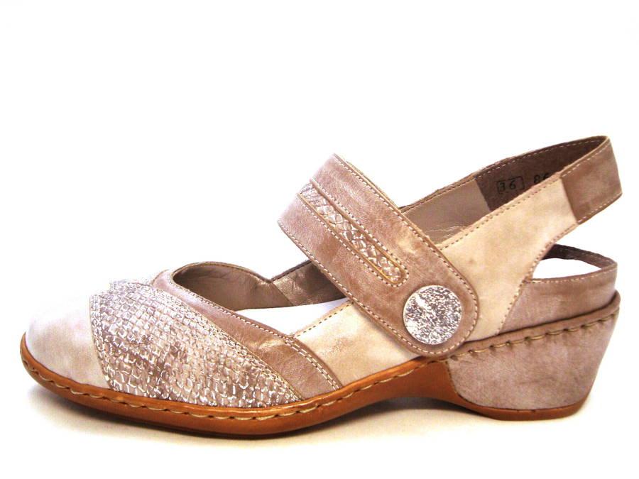 Rieker- kožené béžové sandále s otvorenou pätou e2144ec51d8