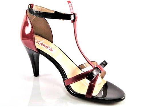 bb12f57b6aafd Jemné červeno-čierne kožené sandálky zn.Embis