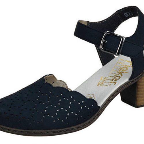 4b8f63fbdc2f Rieker- kožené tmavo - modré sandále s perforáciou - Obuv Carmen