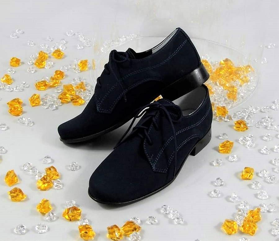 35f04f2248 Moderné chlapčenské modré spoločenské topánky - Obuv Carmen