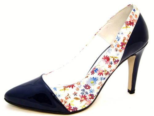 Kvetinovo-modré kožené lodičky na podpätku zn.Carsona - Obuv Carmen ee0a08ec01f