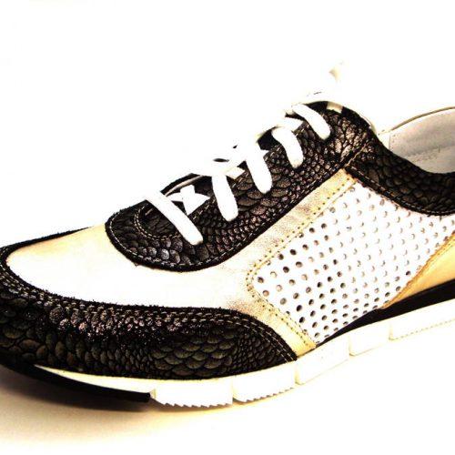 953fa6b8fe9e5 Kožené čierno-zlaté športové perforované topánky
