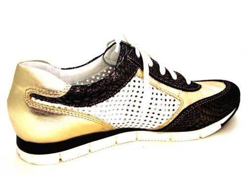 553b57116e16 Kožené čierno-zlaté športové perforované topánky - Obuv Carmen
