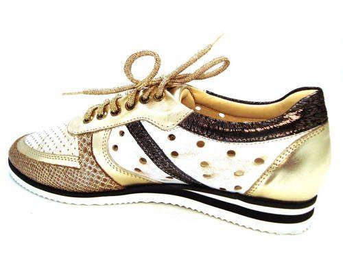 e10695456c498 Zlaté perforované kožené topánky s bielou podrážkou