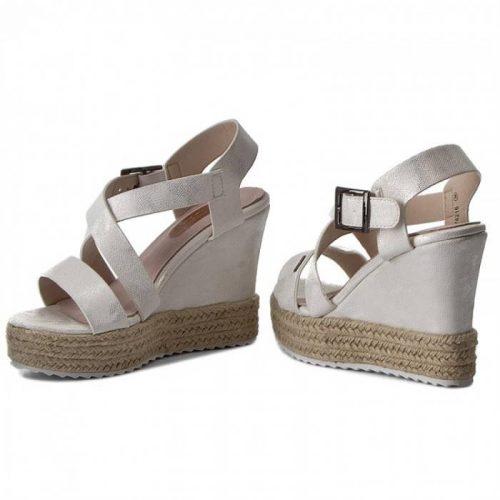 03534284dc3f Big Star-bielo strieborné sandále na klinovom podpätku