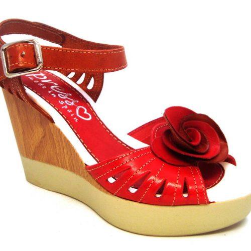 35d7774cfb9a PRESSO-červeno hnedé španielske sandálky na klinovom podpätku