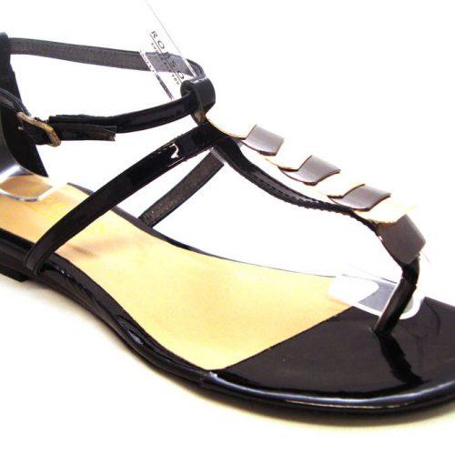 46b4e929c181 Čierno zlaté kožené sandálky zn.Robson