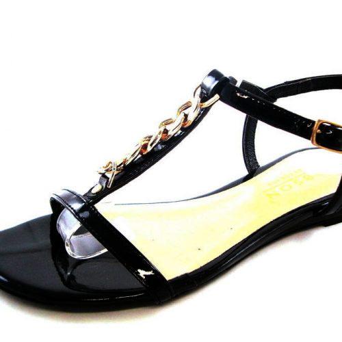 4d15a893083d Čierno-zlaté kožené sandálky zn. Robson