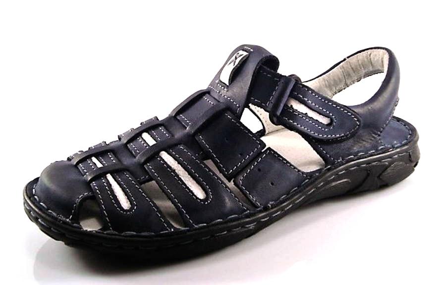 9ea48006dcce Pánske modro-biele uzatvorené kožené sandále - Obuv Carmen