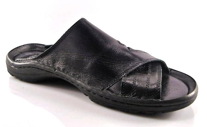fe45e654c Čierne pohodlné pánske kožené šľapky zn.Rammit - Obuv Carmen