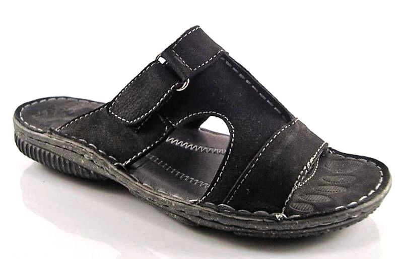 e92dd3db7 Wink-čierne pohodlné pánske kožené šľapky - Obuv Carmen