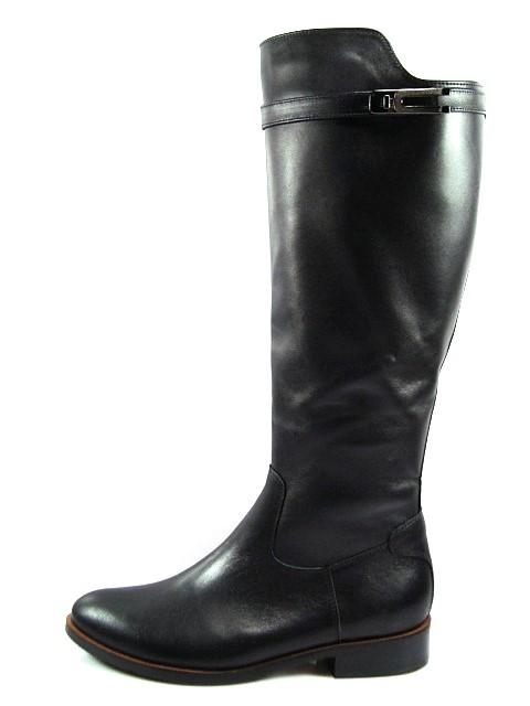 Kordel-čierne vysoké kožené čižmy na nízkom podpätku - Obuv Carmen 6e5a6ba8bc9