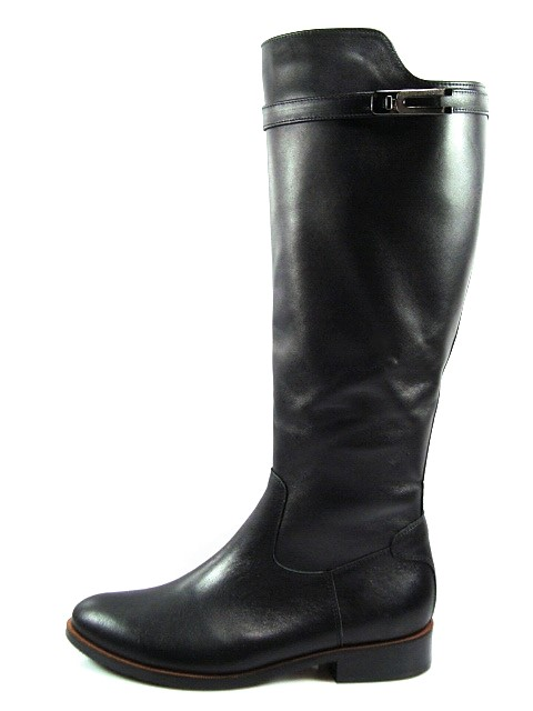 Kordel-čierne vysoké kožené čižmy na nízkom podpätku - Obuv Carmen 8f9803d9684