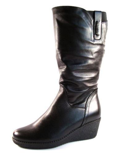 71e407b38395e Čierne kožené čižmy G1/2 na klinovom podpätku