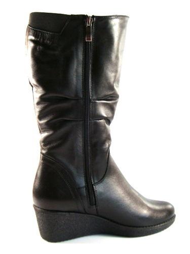 Čierne kožené čižmy G1 2 na klinovom podpätku 8ca0dc2361f