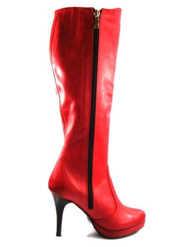 Červené kožené čižmy s platformou zn.Claudio Dessi 12ca1f0ec42