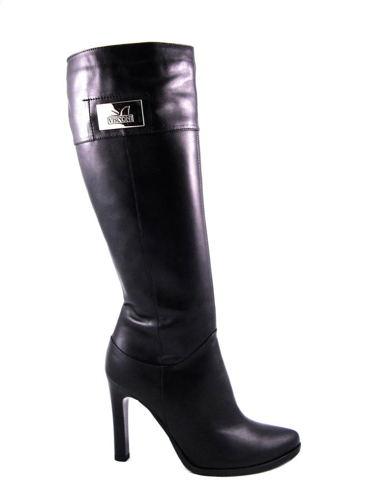 Visconi-elegantné čierne kožené čižmy na podpätku - Obuv Carmen 08bdafc9bfd