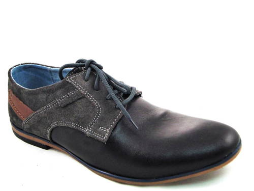 f8fce27c2bb5 Pohodlné kožené čierno-sivé pánske topánky zn.MATEO-Obuv Carmen