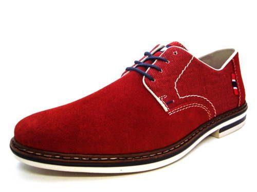 7bb8fd8e7f Rieker - štýlové pánske červené šnurovacie topánky - Obuv Carmen