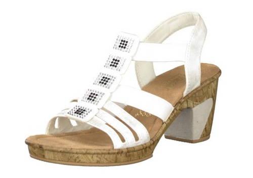 af13432c20618 Rieker-pohodlné biele sandálky na podpätku