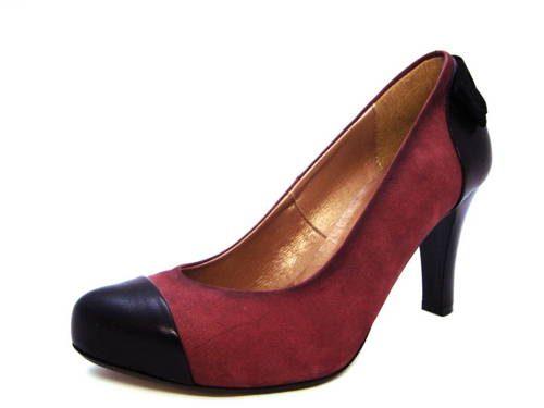 80e2808011f2 Fialovo-čierne vychádzkové topánky na pohodlnom podpätku - Obuv Carmen
