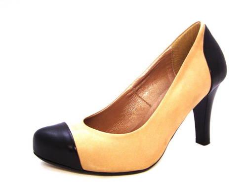 8266a1ba67ed Bežovo-čierne vychádzkové topánky na pohodlnom podpätku - Obuv Carmen