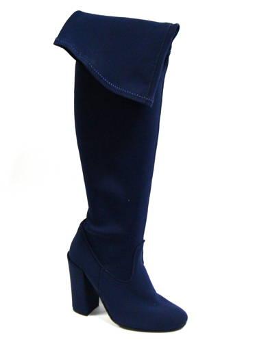 2a6a58c96a97 Claudio Dessi-Modré strečové čižmy nad kolená-Obuv Carmen