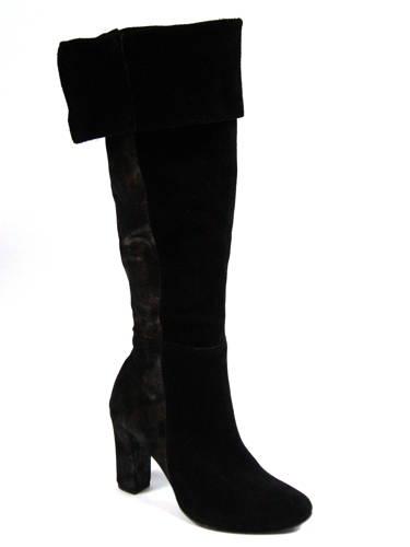 39ed89d6957f Velúrové čierne kožené čižmy nad kolená