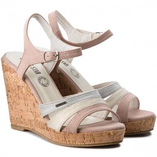 0a32afbb1ed0 Big Star-ružovo sivé sandálky na klinovom podpätku-Obuv Carmen