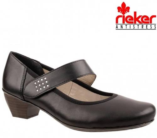 Rieker-čierne vychádzkové topánky s remienkom-Obuv Carmen 9376982a347