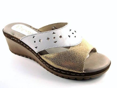 e45c66757c7b Papaya-dámske kožené bielo zlaté šľapky-Obuv Carmen
