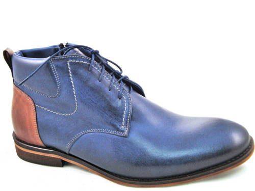 9e415b3954 Elegantné kožené modré kotníkové topánky - Obuv Carmen