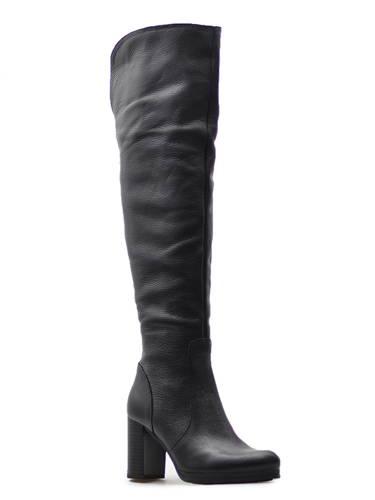 Trendové čierne kožené čižmy nad kolená 279e0498880