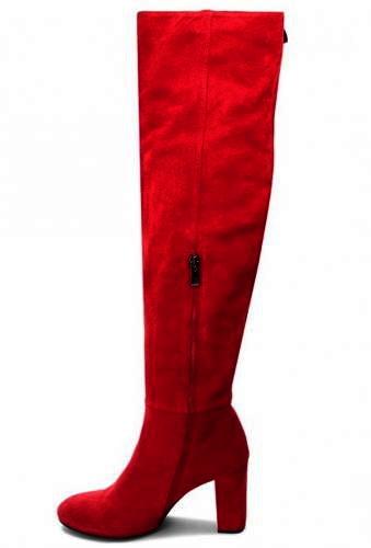 22826153ba Červené velúrové zateplené čižmy nad kolená