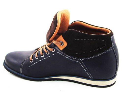 16ee64e9e7ee FOX-pánske modré zateplené kožené topánky - Obuv Carmen