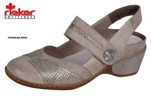 cd7e50a44d Rieker- kožené béžové sandále s otvorenou pätou - Obuv Carmen