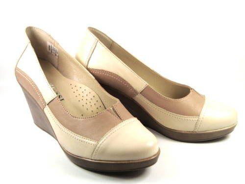 8f48d2836ec1c Béžové kožené topánky na klinovom podpätku-Obuv Carmen