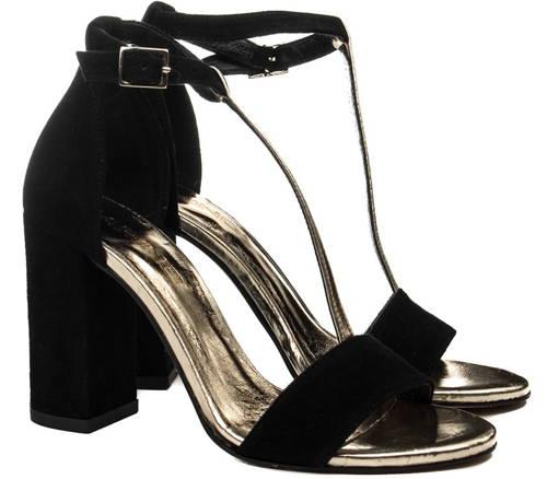 f19a1ba6d7007 Pohodlné čierno/zlaté kožené sandálky-Obuv Carmen