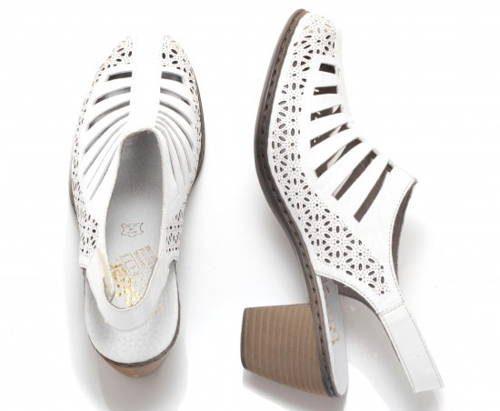 b329c5921b1c5 Rieker-biele perforované kožené sandálky